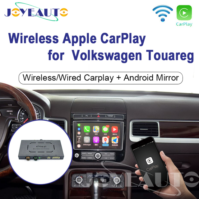 Joyeauto Apple Carplay inalámbrico Wifi para coche, para Volkswagen Touareg, 2010 2017, 8 pulgadas, Android Mirror, compatible con cámara delantera/trasera