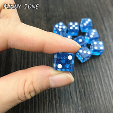 Lustige mini 10 teile/satz hohe qualität 12mm würfel d6 standard punkte glücksspiel zubehör kleine neuheit Blau Glitter pulver wirkung