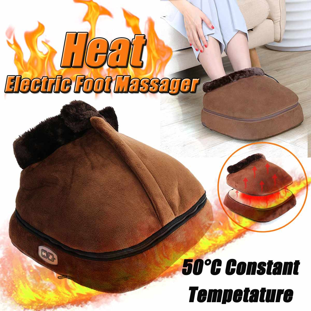 2 IN 1 Electric Heated Foot Warmer Cosy Unisex Velvet Feet Heated Foot Warmer Massager Big Slipper Foot Heat Warm Massage Shoes