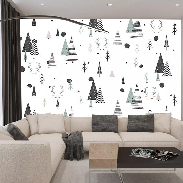Simple Cartoon Woods Pattern Wall Cloth European Style Beautiful CHILDREN'S Room Wallpaper Elegant Hand-Painted Nordic Mural