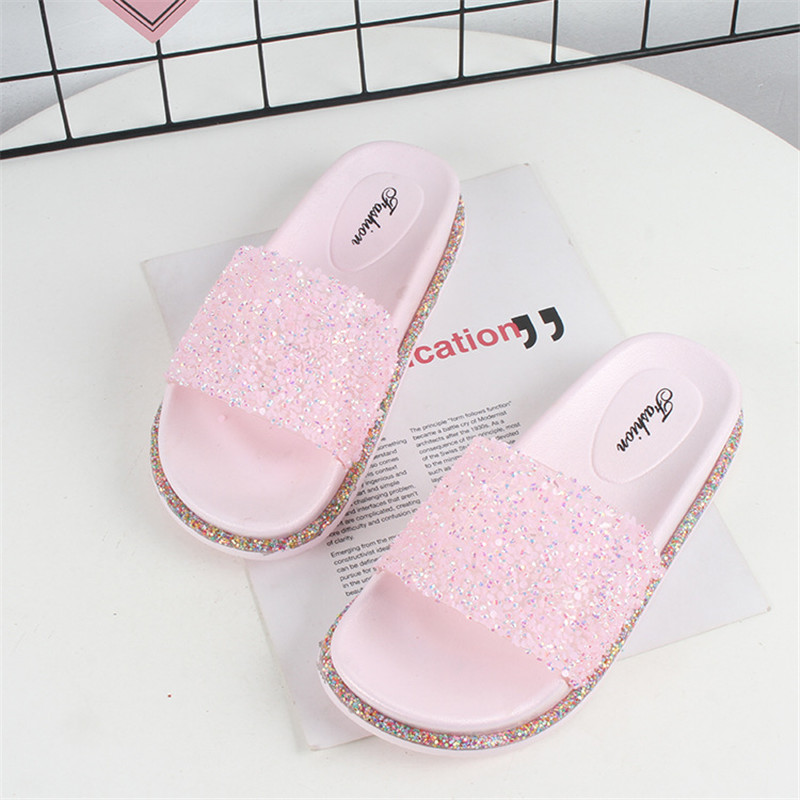 Summer Women's Shoes Multicolor Sandals Bling Slippers Pink Slides Beautiful Beach Sandals Outdoor Spring Flip-flops Jelly Shoes