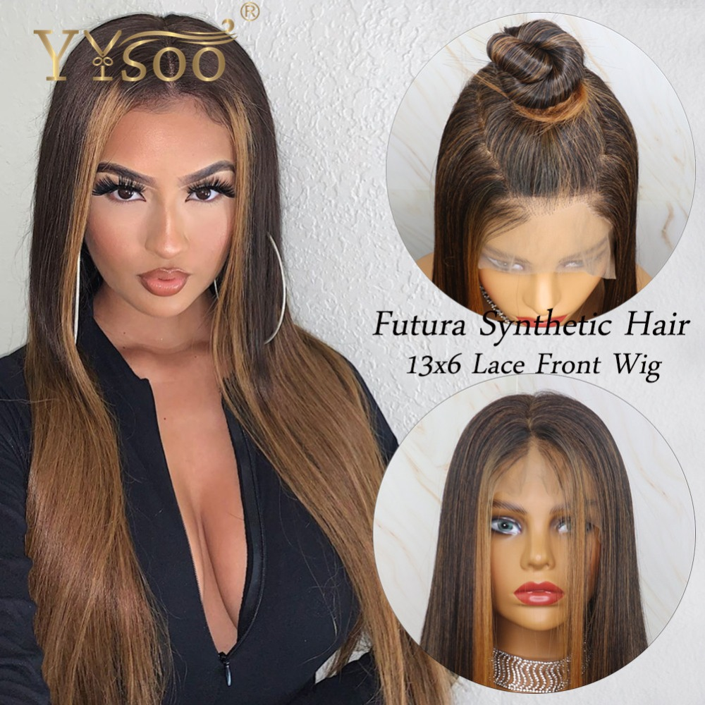 YYsoo13x6 Long Silky Straight Blonde Baylayage Futura Synthetic Lace Front Wigs Japan Fiber Blonde Highlight Wig 6inch Deep Part