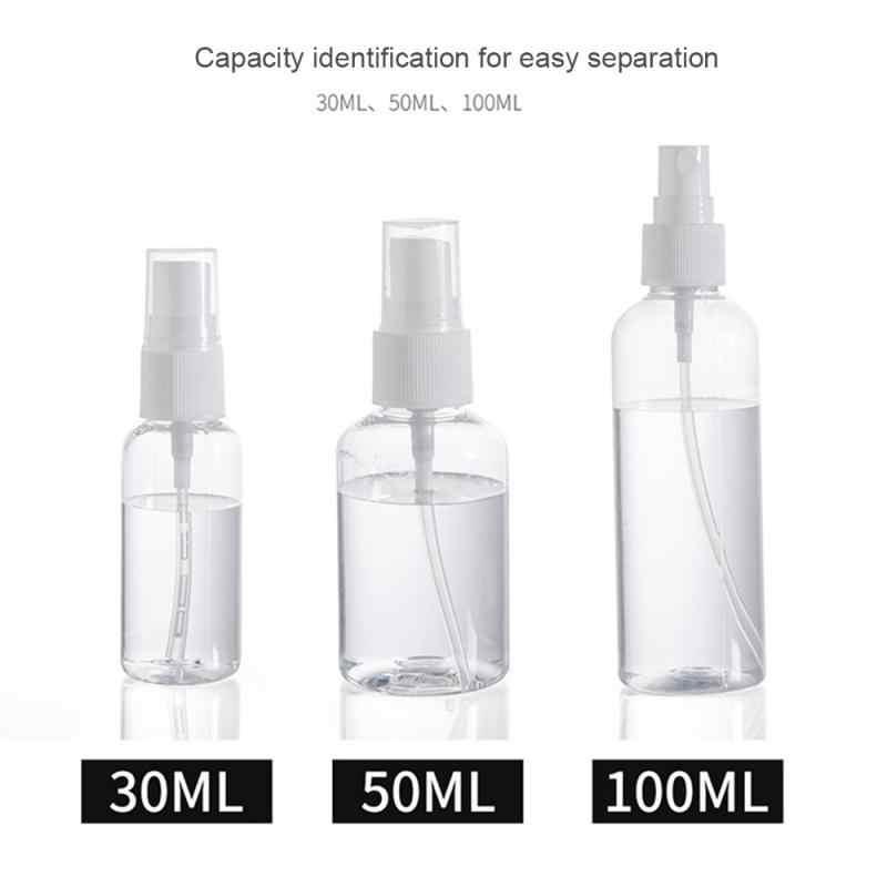 1PCS Reise Transparente Kunststoff Flasche Tragbare Kunststoff Spray Zerstäuber Nachfüllbar Leere Flasche Wasser Sprayer 30/50/ 100ML