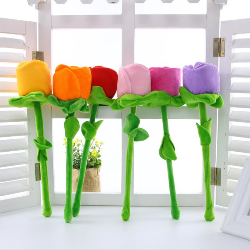 10pcs Cartoon Rose Flower Stuffed Soft Plush Toy Creative Curtain Buckle Home Decoration Christmas Valentine's Day Gift For Girl