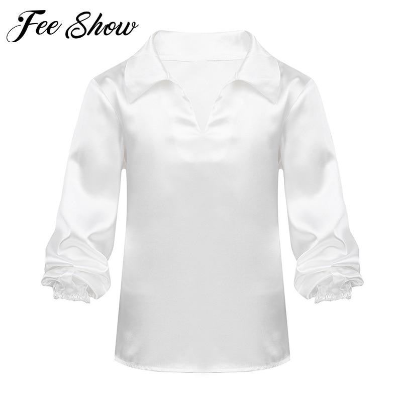 Professional Mens Casual Latin Salsa Ballet Dance Dancewear Costume Shirts Tops