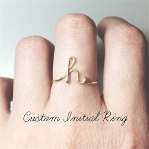 Unisex Gold Silver Color A-Z 26 Initial Letters Name Rings For Women Men Geometric Alloy