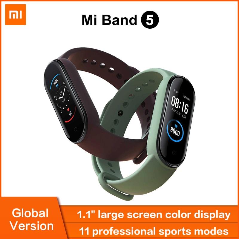 Умный Браслет Xiaomi Mi Band 5 глобальная Версия смарт-браслет AMOLED сенсорный экран Mi 5 Браслет спортивный браслет для занятий спортом пульсометр