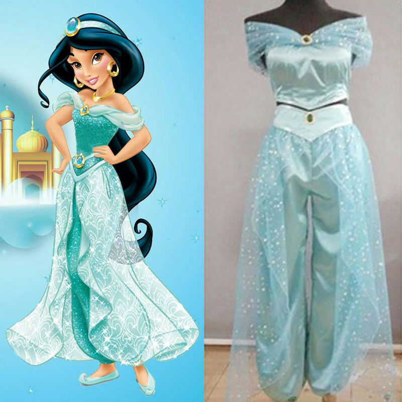 Adult Women Halloween Cosplay Costumes Decor Blattern Rock Women Girls Aladdin Jasmine Princess Dress Dress Up Party Costume Set