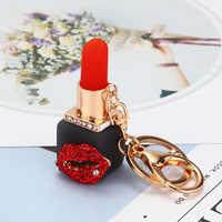 Fashion Creative Rhinestone Personality Lipstick Bag Car Keychain Female Schoolbag Pendant Metal Keychain Ring Gift