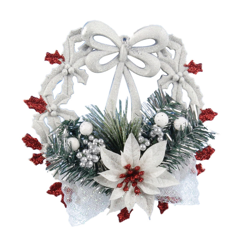 White <font><b>Christmas</b></font> Home Door Window Ornaments <font><b>Christmas</b></font> Decoration Xmas Tree Hanging Decor, A wreath with a bow-knot image