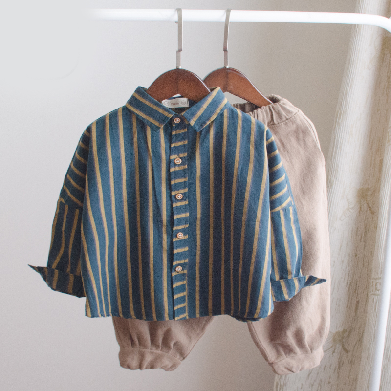 Hot Sale New Children <font><b>Boys</b></font> <font><b>Shirts</b></font> Retro Classic Casual Stripe for 12M-<font><b>7</b></font> <font><b>Years</b></font> Kids <font><b>Boy</b></font> Spring Autumn Wear Clothes image