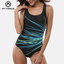 Attraco Women One Piece Swimwear Geometry Print Colorblock Swimsuit Bathing Suit Monokini Bikini