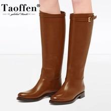 TAOFFEN Plus rozmiar 34-45 kobiet skórzane buty do kolan płaski obcas kobiet zimowe buty ocieplane moda Casual kobieta długie obuwie