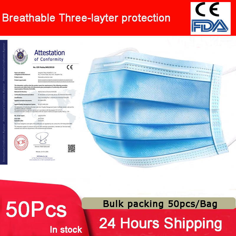 50pcs/Bag Maternity Face Mask 3Layer Non-woven Prevent Dust Mask Disposable Mouth Mask Cotton Breathable Disposable Elastic