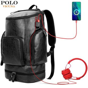 VICUNA POLO Leather New Arrival Multifunctional Business Laptop Backpack With Headphone Hole USB Charging Travel Men Backpack