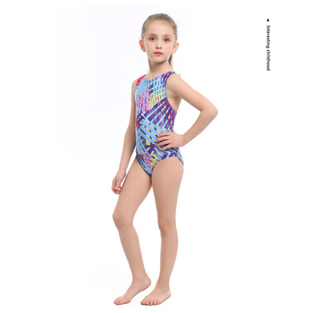 2020 New Professional Girls One-piece Swimming Trunks With Crotch High quality Digital Print bathing Children suit Swimsuit - Blue, 3XS