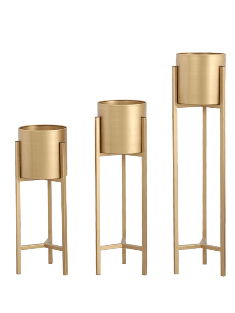 Art Flower Airs Golden Light Luxurious Wind Balcony A Living Room Indoor Landing Type Simple And Easy Green Luo Metal Shelf|Plant Shelves| |  - title=