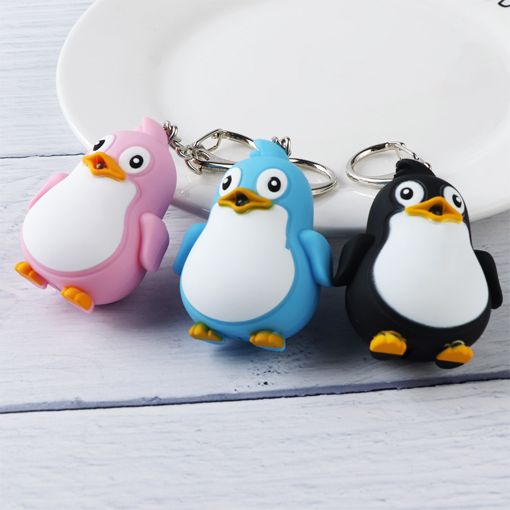 Cute Cartoon Penguin Shape LED Toys With Sound Lovely Mini Plastic Flashlight Toys For Baby Kids Children Toys Gifts