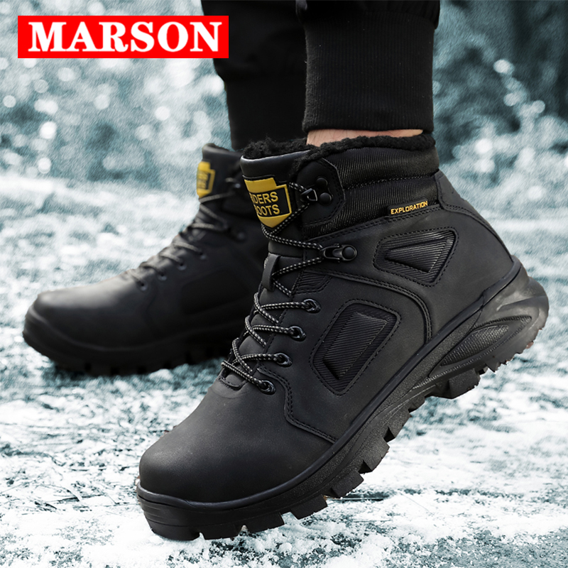 MARSON Men's Winter Warm Snow Boots Men Leather Ankle Shoes Plush Warm Male Shoe High Top Outdoor Sneakers Hiking Footwear
