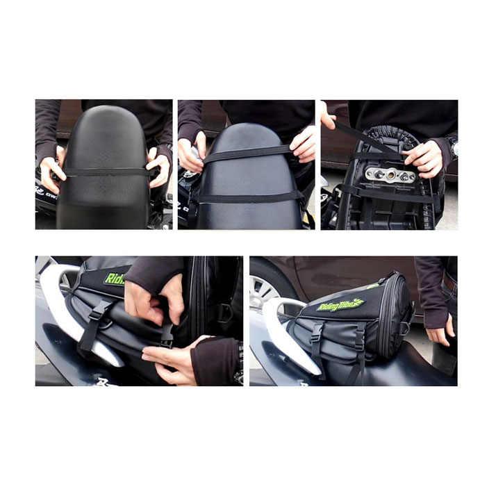 ใหม่รถจักรยานยนต์ถุงอานรถจักรยานยนต์ขาถุงกันน้ำกระเป๋าถัง Motocicleta Racing ถังน้ำมันหางกระเป๋า 10 นิ้ว PU หนัง