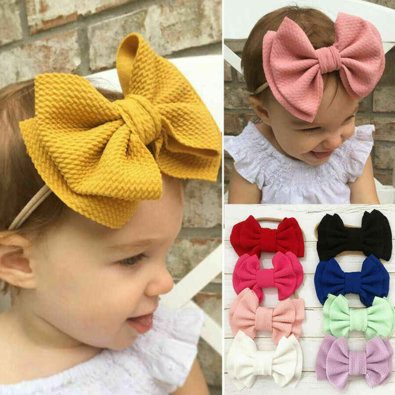 Cute Toddler Baby Girls Big Bow Hairbands Kids Headbands Infant Little Baby Party Head Accessories Cute Stretch Knot Headwear