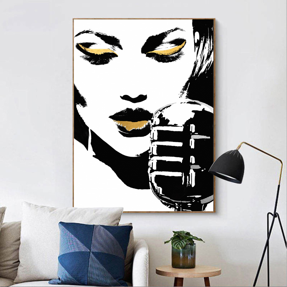 Watercolor Fashion Girl Lip Wall Art Print Canvas Painting Nordic Canvas Poster And Prints Wall Pictures For Living Room Decor in Painting Calligraphy from Home Garden