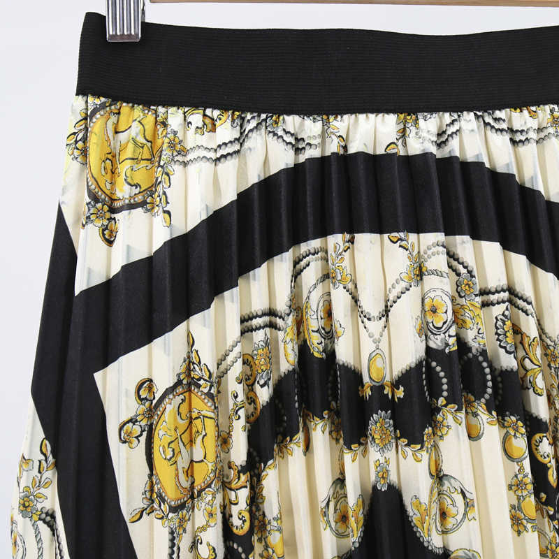 Pleated Retro Skirt Summer Patterns Fashion Cartoon Character Skirt Waist Skirt Women Elastic Waist Long Skirts Female