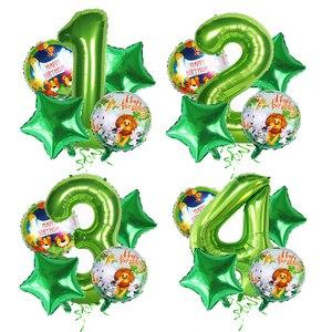 Image 5 - Décoration danniversaire sur le thème du Safari, assiettes, gobelets, chapeaux, pailles avec des animaux et nains pour les enfants