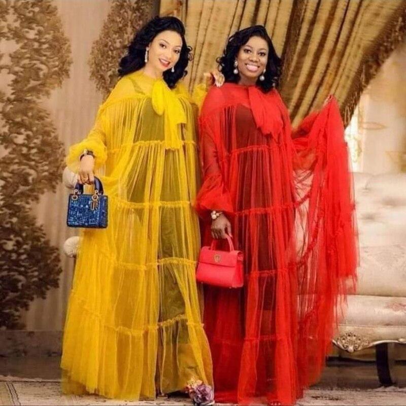 Custom Made Evening Party Gowns Sheer Full Sleeve Abiye Gece Elbisesi Vestido De Festa Cheap Formal Evening Dress Tulle Bow Long