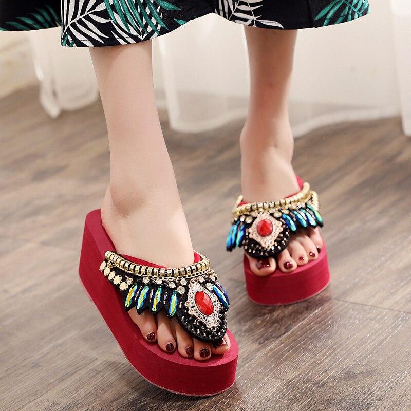 big gemstone metal decoration flip flops platform wedges women summer slides ethnic string bead slip-on lazy slippers pantuflas(China)