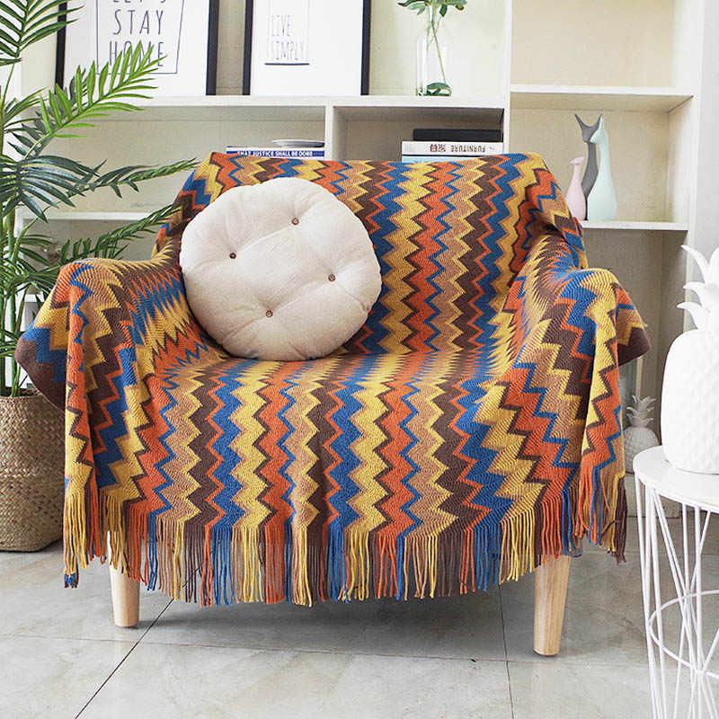 웨이브 니트 술 홈 침구 담요 퀼트 아기 보양 목욕 랩 소파 라운지 의자 커버