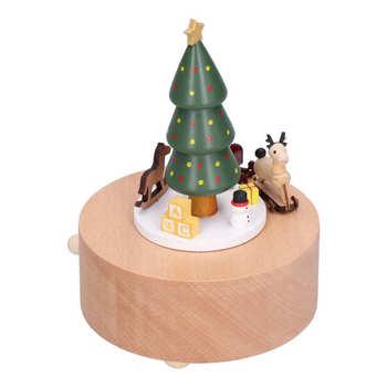 Pozytywki na prezent drewniana pozytywka choinka Deer Cart pozytywka klasyczne mechaniczne rzemiosło drewniane zabawki do dekoracji wnętrz tanie i dobre opinie CN (pochodzenie)