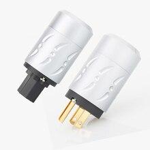 Viborg X 1 쌍 알루미늄 합금 순수 구리 금 도금 HiFi 오디오 등급 AC 전원 케이블 커넥터 어댑터 미국 버전 전원 플러그