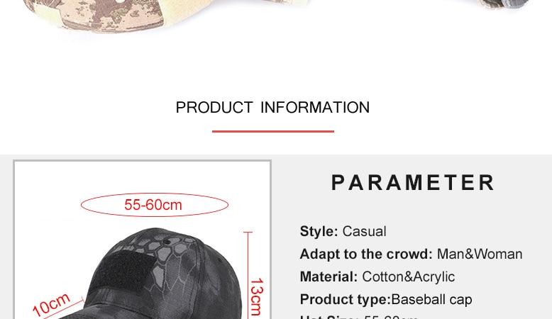 17 Colors Camo Men's gorras Baseball Cap Male Bone Masculino Dad Hat Trucker New Tactical Men's Cap Camouflage Snapback Hat 2020 2