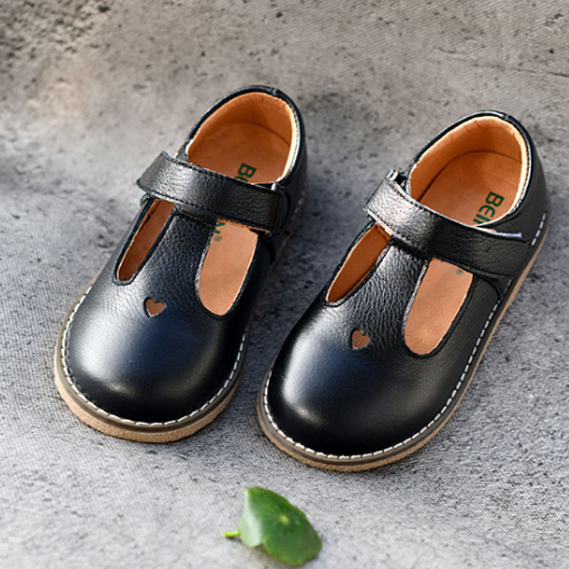 Formal Girls Dress Shoes For Holiday Party Baby Girl Shoes Low Heels Kids Genuine Leather Shoes Heart-shape Child Sneaker D02152