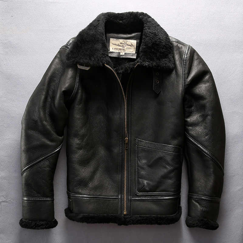 Avirex fly Men's real sheep shearing fur air force flight winter genuine leather jacket for male sheepskin coat men