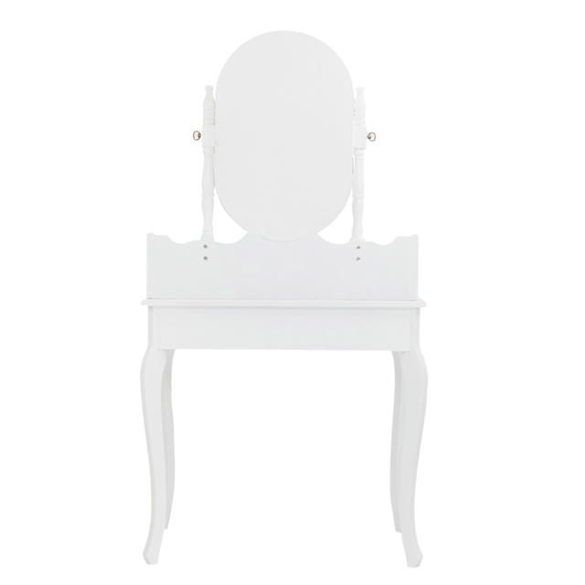 Dresser with Single Mirror Jewelry Cabinet 4 drawer Queen anne style legs White 2