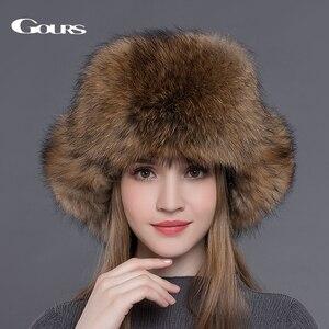 Image 2 - Gours Bontmuts Voor Vrouwen Natuurlijke Wasbeer Vossenbont Russische Ushanka Hoeden Winter Dikke Warme Oren Fashion Bomber Cap Zwart nieuwe Collectie
