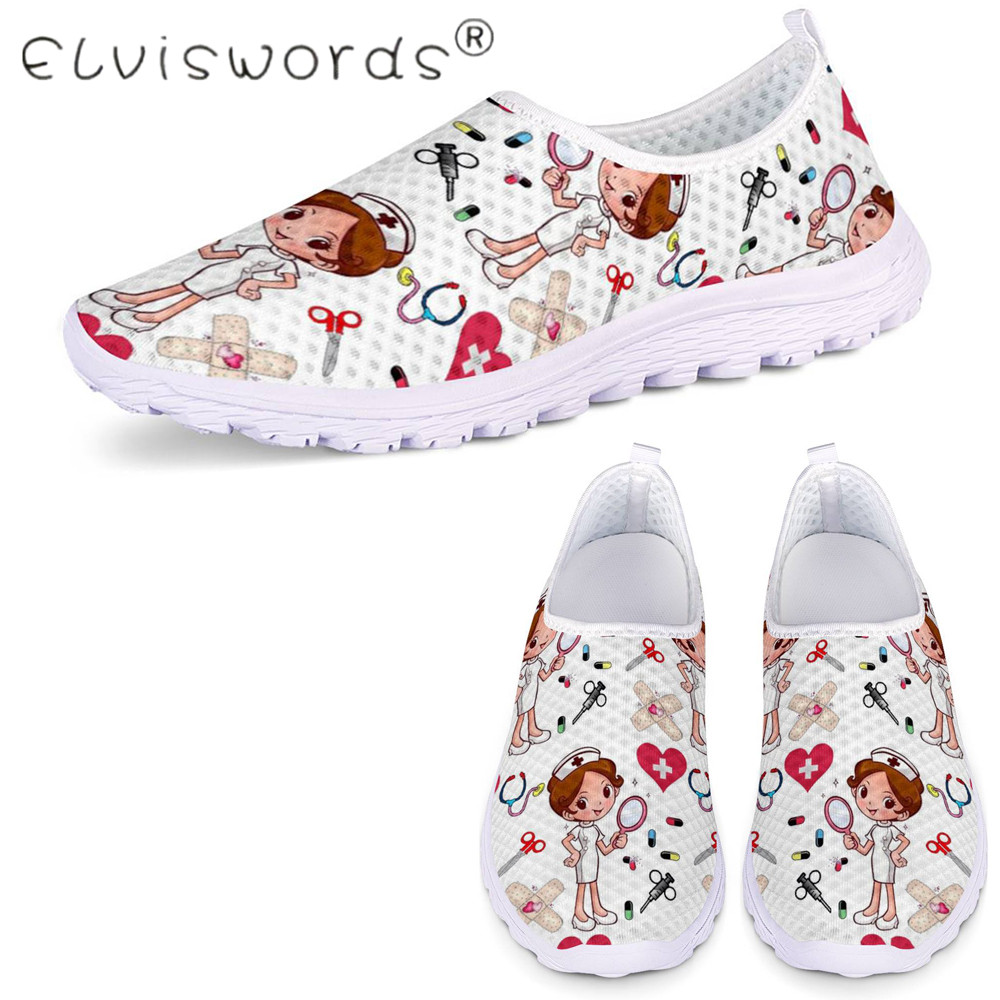 ELVISWORDS Cute Nurse Pattern Women Spring Summer Flats Shoes 3D Cartoon Nursing Mesh Shoes Lady Comfortable Slip on Beach Shoes image