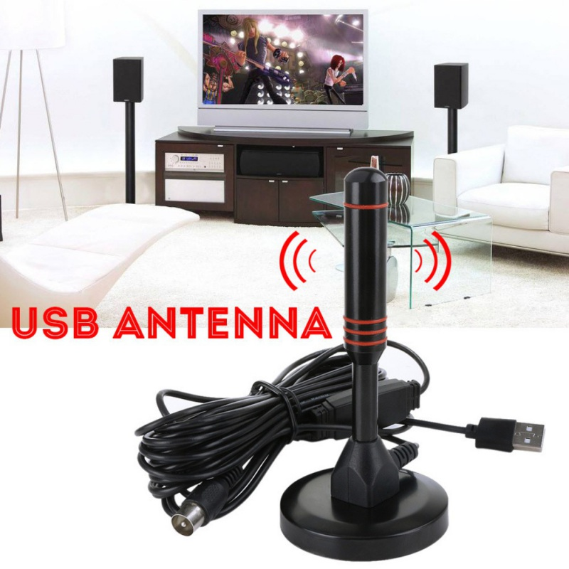 Hohe Qualität Indoor USB Antenne <font><b>TV</b></font> <font><b>Digital</b></font> HD 1080P 4K 200 Meile Palette Skywire <font><b>TV</b></font> 16ft Coax Kabel image
