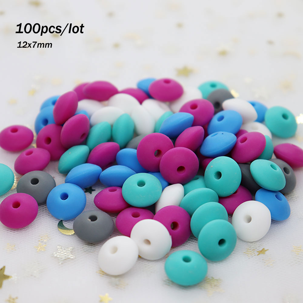 100Pcs Round Silicone Lentil Beads 12mm BPA Free Perle Silicone Dentition Teething Necklace Toys Bracelet DIY Making Loose Bead