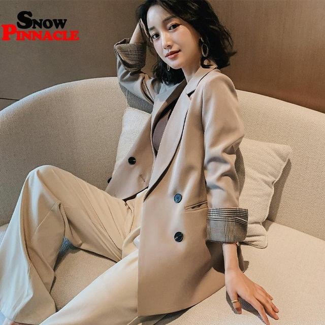 Women Blazer Autumn Casual double botton Women Blazer Pockets Jackets Female Retro Suits Coat Feminino blazers 1