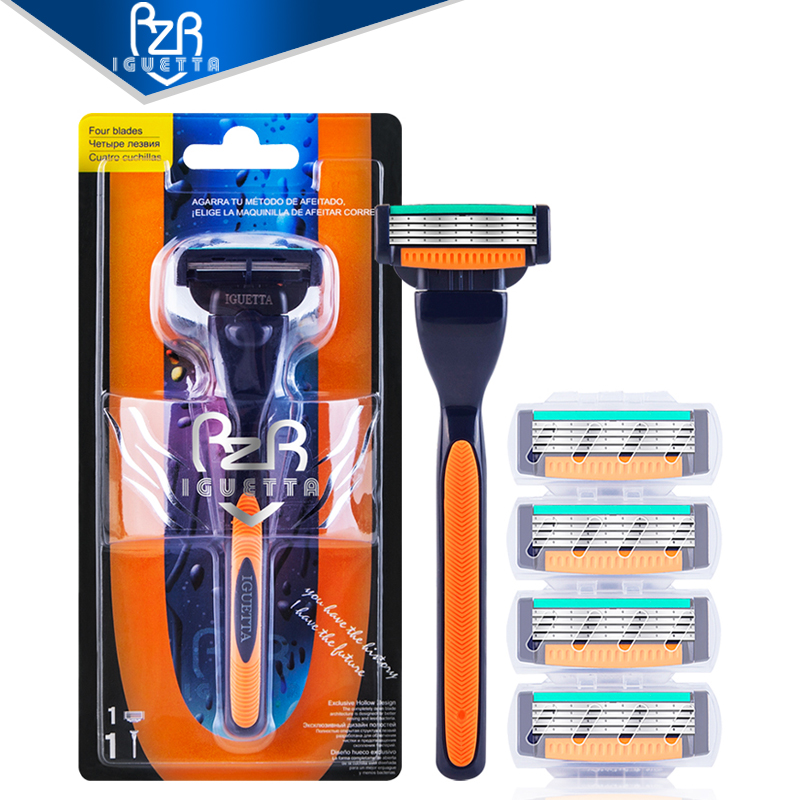 RZRIGUETTA Razor For Men High Quality Steel Blade Shaving Razor Cartridge 4 Layers Blade Razor Beard Body Hair Remover
