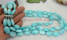 Jewelry Pearl Necklace New 3 Row 13x18mm Natural Blue Aquamarine Oval Gemstone Necklace 17-19'' Free Shipping(China)