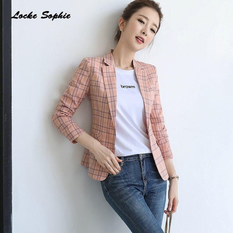 Womens Plus Size Slim Fit Blazers Coats 2019 Winter Cotton Blend Plaid Small Suits Jackets Ladies Skinny Formal Blazers Suits