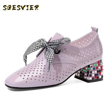 SGESVIER Classic Hollow Genuine Leather Women Pumps 2020 Summer New Lace Up High Heels Round Toe Shoes Woman Casual Basic Shoes qmn women shearling and patent leather pumps women retro round toe block heel lace up shoes woman real leather heels