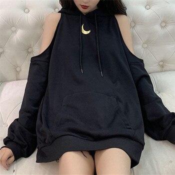 Moon Print Sexy Off Shoulder Long Loose Hoodie Sweatshirt Teenager Woman Girls Hip Hop Streetwear Female Hoodies Tops 1