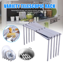 Retractable Storage Rack Folding Kitchen Gadget Multi-function Stainless Steel Steaming Pot  DAG-ship