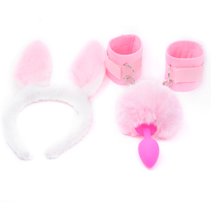 FX Silicone Anal Tail Fluffy Hand Cuffs Pink Rabbit Ear Bunny Girl Cosplay Sex Accessaries Short Butt Plug Tails BDSM Handcuffs