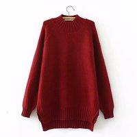 Plus size red & black & dark green winter vrouwen truien Coltrui Gebreide casual dames oversize trui wol vrouwelijke